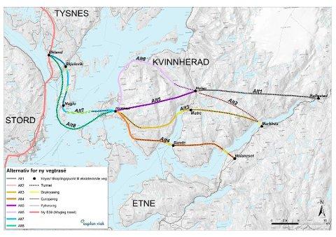 Skissa viser ulike alternativ for Sunnhordlandsdiagonalen.