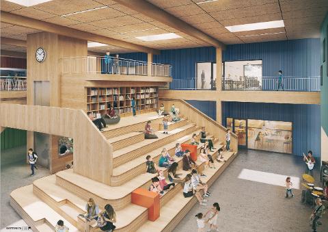 Første skissene: De første skissene av nye Flesberg skole er klare. Det er entreprenøren Backe Stor-Oslo som skal jobbe sammen med Spinn Arkitekter og landskapsarkitekt Norconsult.