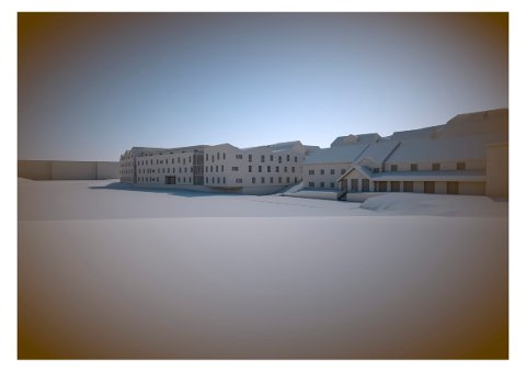 Slik kan de nye studentboligene se ut. Vandrerhjemmet til høyre.
