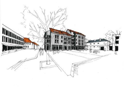 FERSKE SKISSER: Slik kan Bertsengården bli seende ut. Gårdeier Fredrik Neumann i samarbeid med arkitekten kommet fram til skisser som politikerne liker.