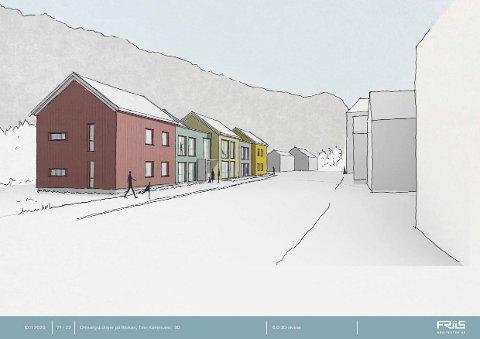 ALTERNATIV 1: Dette er arkitektkontoret Friis Arkitekter sitt skisseforslag til utforming av omsorgsboligene på Rjukan. (foto : Friis Arkitekter)