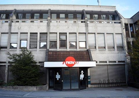 NAV Kongsbergs kontor i Nansens gate på Vestsida, ble stengt mandag av hensyn til smittevernet.