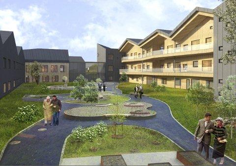 Ferdig i 2022: Slik er nye Fosshagen 2 tenkt plassert i forhold til dagens Fosshagen. Sansehagen blir liggende som et atrium mellom de to bygningene.