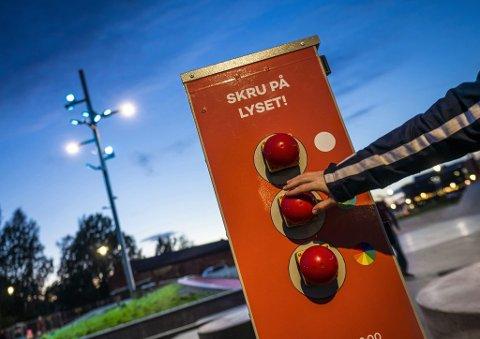 Innovativt: Lillestrøm skatepark har fått et belysningsanlegg med interaktiv lysstyring.