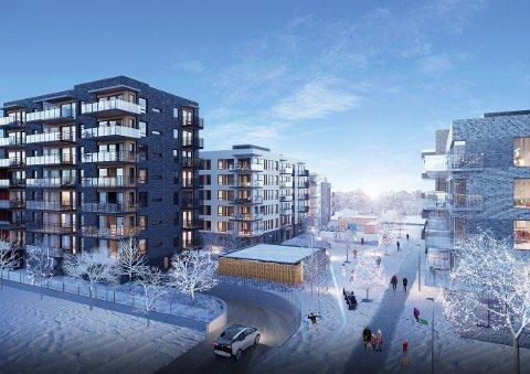 KVARTERET: Slik skal det se ut når Kvarteret etter hvert står ferdig. 950 leiligheter skal bygges.