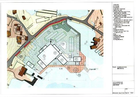 HANDELSSENTER: Slik tenker Deco Norge AS seg at et handelssenter på Valen ved Reine kan bygges.