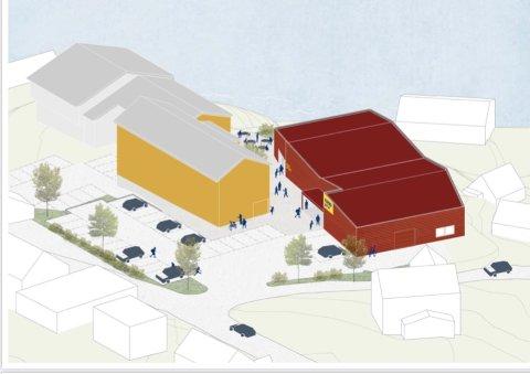 MULIGHETER PÅ REINE: Slik kan området ved Reine kultursenter framstå dersom ny Coop-butikk blir godkjent av Moskenes kommune. Illustrasjon: Longva Arkitekter