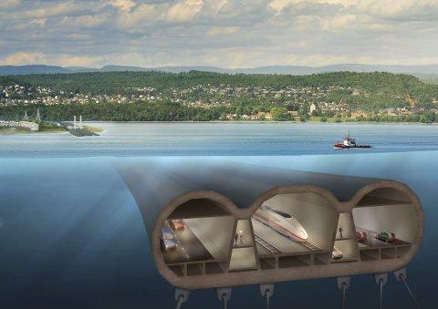 RØRBRU: Slik kan en rørbru under havets overflate se ut. Illustrasjonen er laget av Jonathan Parker/ArkitektTeam og presentert i MA før.