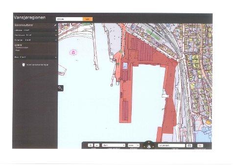 Rød felt viser omradet som inngår i oppsjonsavtale mellom Moss havn og Sjøsiden as
