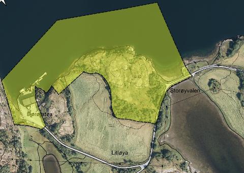 GODT EGNET: Planområdet, som omfatter areal i sjø og på land på totalt 95 dekar, er markert med gult.