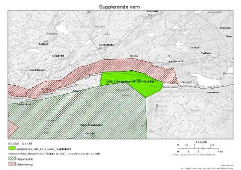 EN LITEN UTVIDELSE: Det er ikke så veldig stort areal som foreslås lagt til Blåfjella-Skjækerfjella nasjonalpark (Det grønne området på kartet). Men det har likevel en betydning siden det gjør at fylkesveg 74 over Lifjellet blir gående gjennom parken.