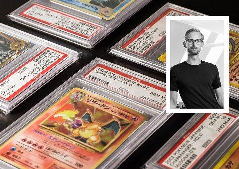 SAMLER: Henrik Karlsen er stor fan av Pokémon-kort og har samlet i mange år. For han har det blitt en morsom investering.