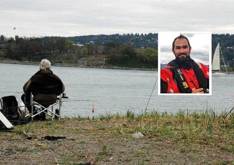 BEKYMRET: Jørgen Ree Wiig i fiskeridirektoratet (infeldt) håper folk nå er obs på at man ikke får med fisk eller ål om man fisker i Oslofjorden. Fisken er fredet på grunn av lav bestand.