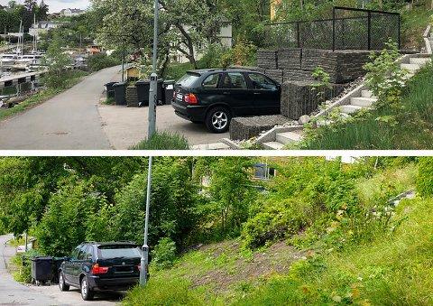 FØR OG NÅ: Det øverste bildet viser hvordan parkerinsplassen så ut før etter at den var ulovlig oppført, her fra 2019. Det nederste bildet viser hvordan det ser ut i dag etter tilbakestilling.
