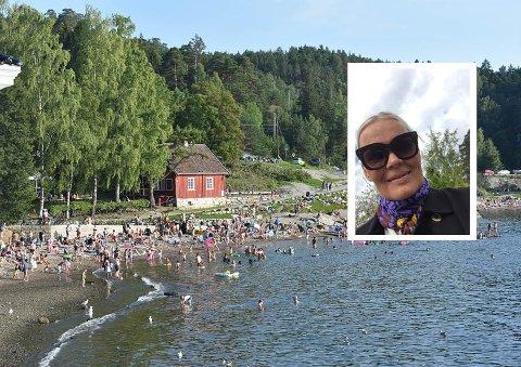 OPPGITT: Merete Finstad (innfeldt) reagerer på dårlig renhold fra kommunen etter en sommer uten såpe eller vannkraner som funker ved Hvervenbukta.