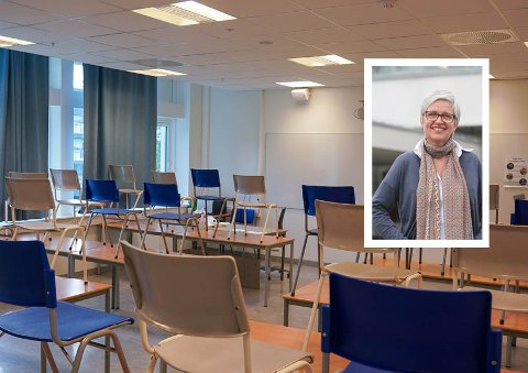 TOMT: Det var kun tomme seter i alle klasserommene på Lambertseter Videregående skole denne mandagen. Elevene ble holdt hjemme grunnet buss-streiken, forteller rektor ved skolen, Siv Jacobsen.