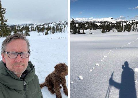 Jon har gått mange skiturer de siste ukene og lagt ned mye tid i jobben på hytta. Her ses han med familiehunden.