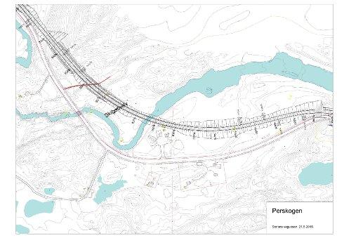 NY TRASÉ: Slik vil Statens vegvesen rette ut svingen på E8 på toppen av Skibotndalen ved den gamle vegstasjonen.