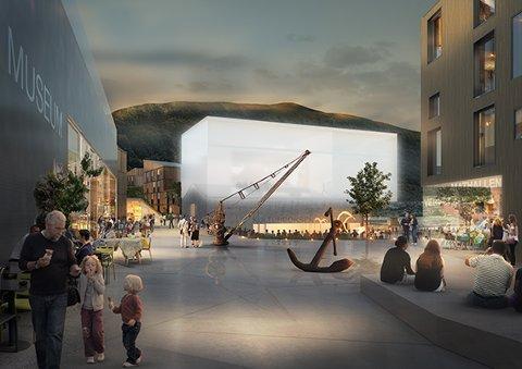 NYTT TORG: LPOs forslag for området omfatter etablering av et nytt torg og transformasjon av det gamle verftet og verkstedet som er tiltenkt å bli Tromsøs nye kulturhus med kulturkafe, filmsenter, utekino og kulturlaboratorium med et nytt museum og Mathall. Illustrasjon: LPO Arkitekter