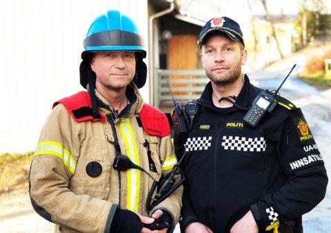 Inge Jakobsen, innsatsleder brann og Arnold Skimelid, innsatsleder politiet på stedet. Foto: Silje Solstad