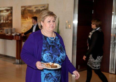 Partileder og statsminister Erna Solberg er til stede på Høyres felleskonferanse for sentralstyret, stortingsgruppen og regjeringsapparatet. Foto: Vidar Ruud / NTB scanpix