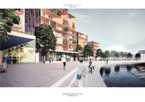 EN AV FINALISTENE: Slik ser arkitektfirmaet Kontur for seg Farverikvartalet.