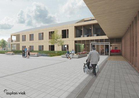 MASSIVTRE: Det skal benyttes massivtre i bærende konstruksjoner ved byggingen av Søndre Lands nye omsorgssenter, Hovlitunet.