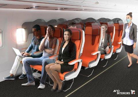 «Glassafe», som også er designet av Aviointeriors, er i praksis en glass-hette over hvert flysete som skal redusere smitteoverføring mellom passasjerene. Foto: Aviointeriors