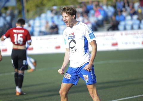 SIKRET TRE POENG: Eivind Holte Tøråsen ble dagens mann for Nybergsund. Foto: Magnus Torp Antonsen