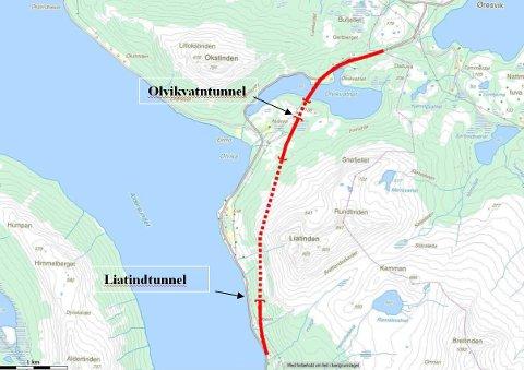 Statens vegvesen har foreslått at tunnelene skal hete Liatindtunnelen og Olvikvatntunnelen. Illustrasjon: Statens vegvesen