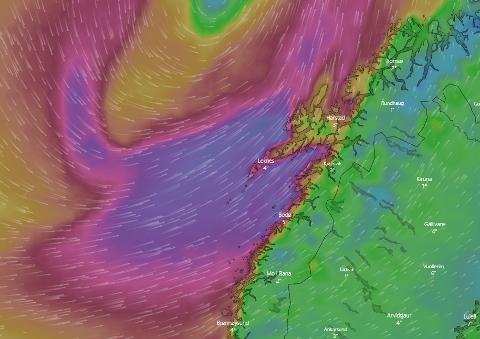 Skjermdump fra windy.com som viser at det er mye vind langs kysten ved 16-tida onsdag.