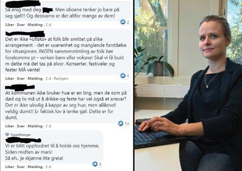 BEKYMRET: Kommuneoverlege Cecilie Blakstad Eikenes sier hun er bekymret over tonen på sosiale medier.
