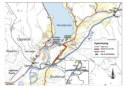 Kart over mulige bomstasjoner i Jevnaker. (Illustrasjon: Statens vegvesen)