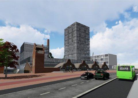 TØMMERTORGET: Bygget mot Fossen kan bli på opptil 12 etasjer. Byplanen kan også åpne for å vri landkaret på brua slik at det blir et torg foran bygget i Arnemannsveien. Illustrasjon/Ringerike kommune