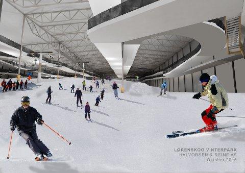 GOD PLASS: Skihallen SNØ blir på over 40.000 kvadratmeter – tilsvarende fire ganger Telenor Arena. Ill.: Halvorsen & Reine AS