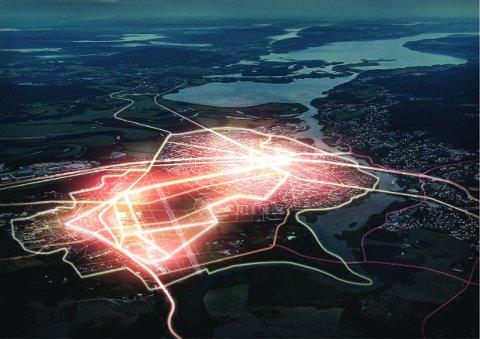 Utvikling av Kjeller muliggjør nye koblinger og binder forskningsparken sammen med Lillestrøm by.Bildet illustrerer dette på et overordnet nivå som muligheter, uten at det er konkretisert om dette er veier, gangstier eller andre kollektivløsninger.  FOTO/ ILLUESTRASJON: Dark arkitekter