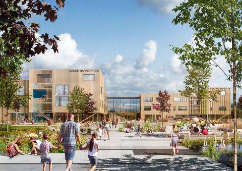 RAMMESØKNAD: L2 Arkitekter AS har sendt inn søknad om rammetillatelse for bygging av nye sentrumsskoler i Sande.