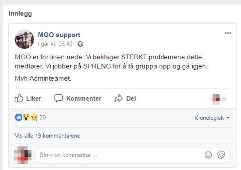 STENGT: Denne meldingen ble lagt ut på supportsiden til Mannegruppa Ottar da hovedsiden på Facebook ble stengt.