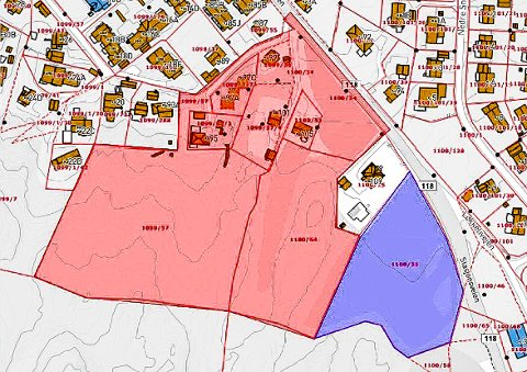 ÅSLIEN: Kartet viser området som inngår i reguleringsplanen. Det blålilla området er jordet som politikerne har vedtatt at det ikke får bygges på. Den rosa skraverte delen er den resterende delen av området.