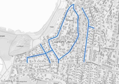 FLERE VEIER: Dette kartet viser hvilke veier som blir berørt når kommunen skal bytte vannledninger.