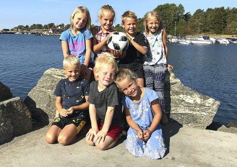 HUSEMAGI X 2: Askim-familien Huse stiller meg to egne lag under navnet Husemagi i treerfotball på Norway Cup. Bak: Sanne (f.v. 7), Mille (10), Max (7) og Hedda (6). Foran: Jo (f.v., 5), Birk (5) og Maia 5). Alle heter Huse til etternavn. ALLE FOTO: PRIVAT