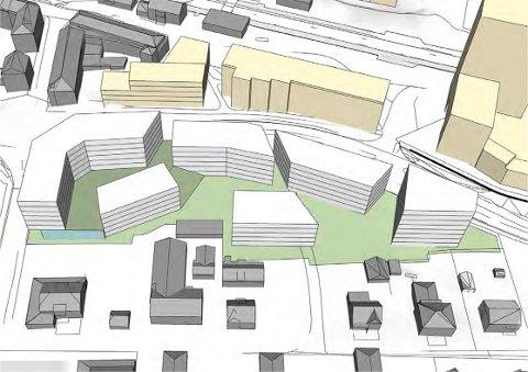 Slik ser skissen ut over blokkene Glomviktunet AS ønsker å bygge i Askim.