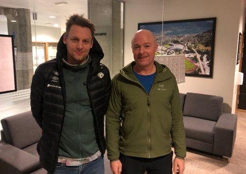 LEGENDESAMLING: Tommy Øren og Asle Hillestad er begge markante spelarar i Sogndal-historia. Dei er gjester i juleepisoden av Radl om badl.