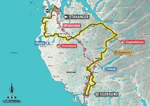Slik går tirsdagens etappe som også går gjennom Sola. Sola sentrum får begrenset adkomst i tidsrommet 13.30 til 14.30.