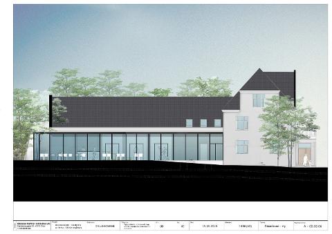 Slik skal østsiden av fasaden på Byhuset se ut med en ny adkomst i glass.