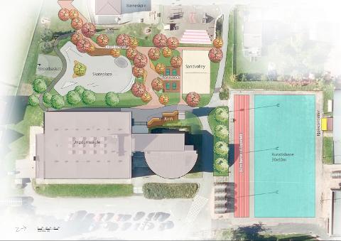 Illustrasjon: Dette er en prinsippskisse over kunstisbanen. Det er kun ment som en illustrasjon, det kan skje endringer i plassering på grunn av lokale forhold.