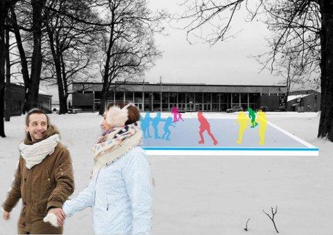 SKØYTEBANE: - Det er midler til drift av skøytebane som er utfordrende, sier byutviklingssjef Mette Gundersen i Skien kommune. Forslag om skøytebane legges fram til politisk behandling i høst for å få til dette til vinteren. Lundeparken er et av forslagene.