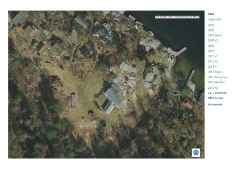 EIENDOMMEN: Slik ser eiendommen ut i 2017, etter at det er hogget trær.