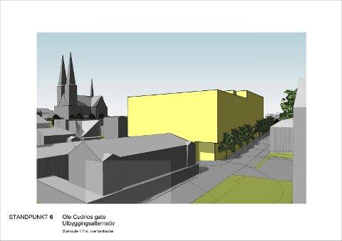 HØYDER: Nye illustrasjoner som Telemark fylkeskommune har bedt om, viser hvordan høydene på det nye sykehjemmet i Kverndalen mot Skien kirke fra Kongens gate. ILLUSTRASJON: BØRVE OG BORSCHENIUS