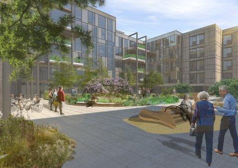 KRITISIERT OG FORSINKET: Det nye sykehjemmet i Skien sentrum vil komme, om enn noe forsinket.  Høyre kritiserte prosjektet kraftig tirsdag.